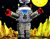 11 x 14 lost in space robot art print from original painting signed and dated by artist with coa FREE SHIPPING in the U.S.