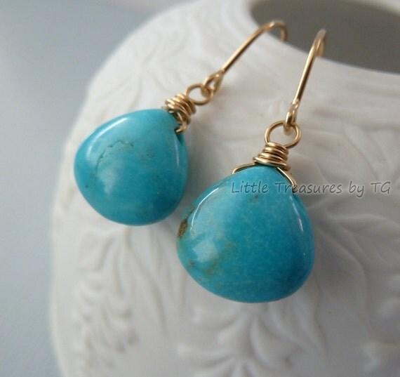 Blue Turquoise smooth drop gold wire wrapped earrings Handmade Jewelry. Birthstone earrings. Drop earrings. Dangle earrings.
