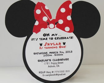 Minnie Mouse Birthday Invitation - RED Polka Dot Bow