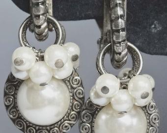 Faux Pearl Dangle Clip-on earrings