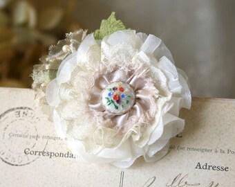 Bride Floral Hairpiece, Flower Girl Hair Accessory, Wedding Hair Clip, Bridesmaid Hair Clip, Vintage Hair Flower, Garden Wedding Hair Clip