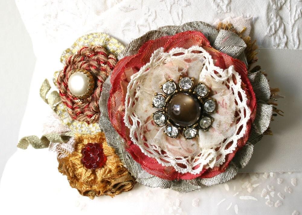 Fabric Flower Pin Textile Flower Brooch Autumn Flower Pin