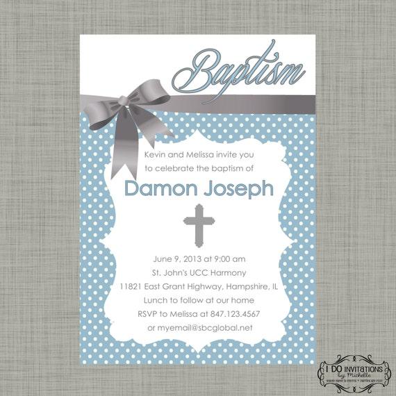 items similar to boy baptism invitation, christening  digital, Baptism invites