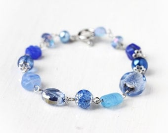 Blue Bracelet with Lampwork Glass, Czech Glass Beads and Glass Pearls - Great for Blue Wedding Cornflower Sapphire Dark Periwinkle Blue