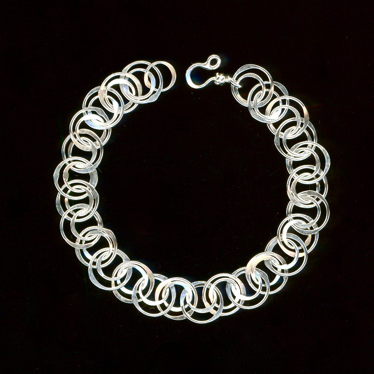 Silver Chain Link Bracelet: Bracelet Chain Link Sterling Silver Circle Chainmaille Wire