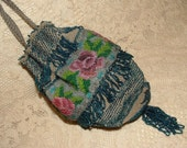 RESERVED for Cathy - Vintage Beaded Purse, Reticule with Roses - Dark Teal Blue, Pink