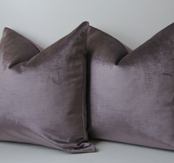 Decorative Pillow Lilac : Set of Two Lilac Silk Velvet pillows Decorative Pillow