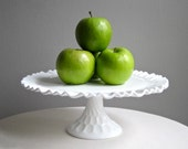 Vintage Milk Glass Wedding Cake Stand in Thumbprint Pattern by Fenton