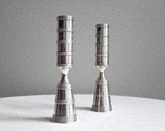 Pair of Dansk Silver Plated Brass Candlesticks - Jens Quistgaard, 1960s, Banded Design
