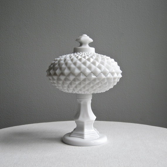 Westmoreland Sawtooth Milk Glass Compote Covered Candy Dish Pedestal