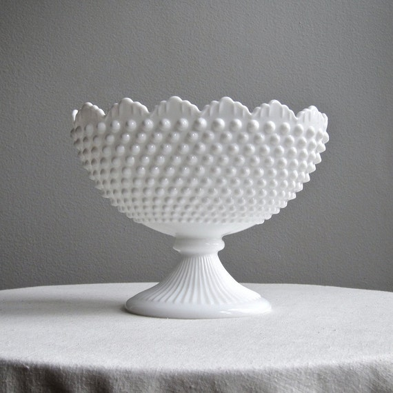 Fenton Hobnail Milk Glass Oval Footed Bowl By