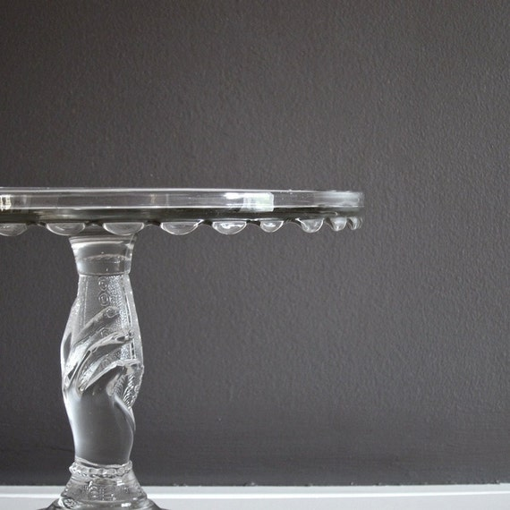 Antique Glass Cake Stand, Hobbs, Brockunier Co circa 1879 - Tree of Life Pattern EAPG Cake Plate