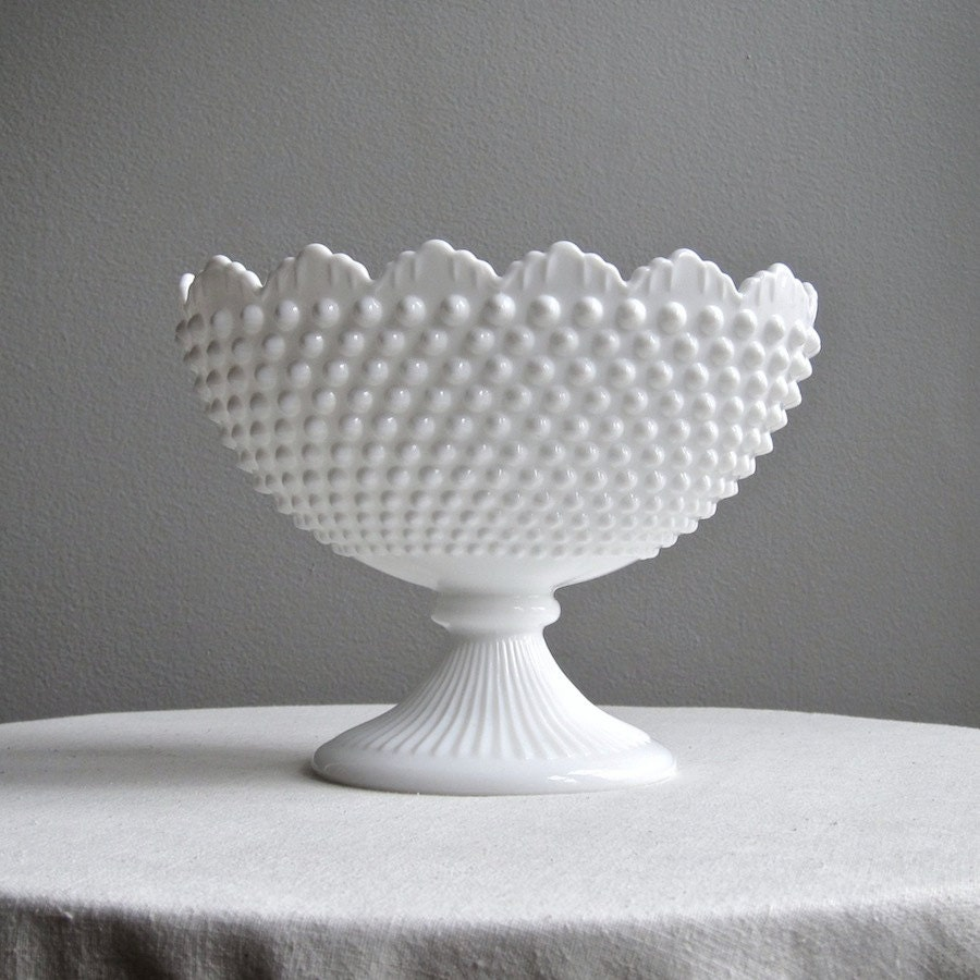 Fenton Hobnail Milk Glass Oval Footed Bowl Or Compote White