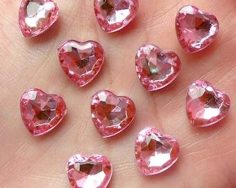 Heart Tip End Rhinestones (10mm / Pink / 10 pcs) Jewelry Making Kawaii Cell Phone Deco Decoden Supplies RHE027
