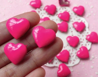 Rivet / Dark Pink Metal HEART Rivet Studs 17mm (around 30pcs) for Leather Craft / Jean Button, etc  RT26