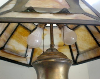 SALE Arts and Crafts Slag Glass Library Student Lamp
