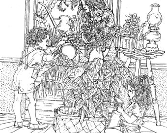 Pen Drawing Art Print- 8X10 Print of my original drawing-Mom and kids watering plants-handsigned by Patty Fleckenstein