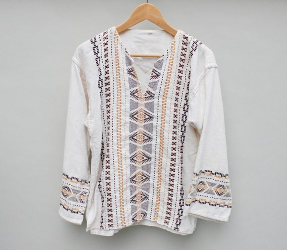 Men s mexican tunic hippie shirt beige off white xs small
