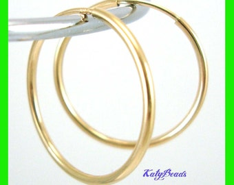 "2"" 14k round gold filled endless earring hoops 50mm 1.3mm tube GE21"