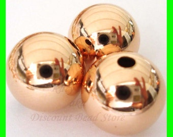 12mm 14k ROSE  gold filled seamless shiny plain round bead spacers RB12