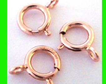 5.5mm 14k rose gold filled round spring ring clasp with open loop RT03o