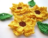 Crochet sunflowers applique - crochet flowers applique - yellow flowers embellishments - wedding decorations - cotton flower - set of 3