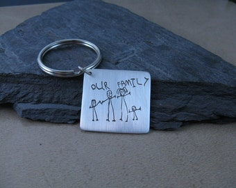 Personalized Kids Artwork on a Fine Silver Keychain...Made to Order