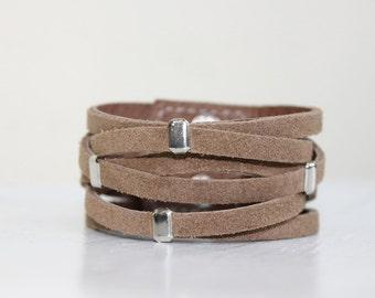 Braided  Light Brown Suede Cuff Bracelet