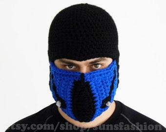 Sub-Zero Mortal Kombat teen boy gift Accessories Mask Beanie Hat Slouch Mens Handmade Winter Men Snowboard Ski Hat unisex game fashion