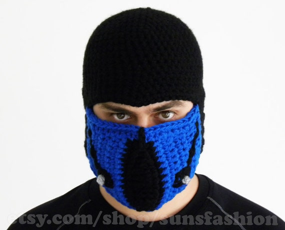Sub-Zero Mortal Kombat Costume Accessories Mask Crochet Beanie Hat Slouch Mens Handmade Winter Men Snowboard Ski Hat unisex game fashion