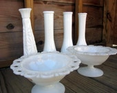 Instant Collection - Vintage Milk Glass Vases and Bowls