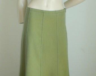 90s Vintage Moggi cotton spandex olive green mermaid maxi long skirt EU 40 M