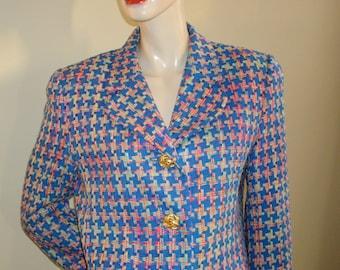 90s Vintage Doncaster woven pinwheel 100% multi-blue silk thread blazer jacket 8