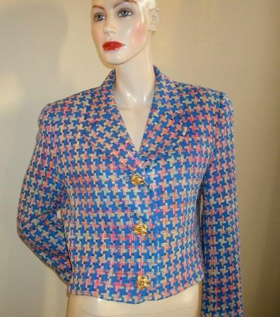 90s vintage doncaster woven pinwheel 100 multi blue silk