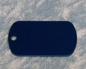 Tag, blue anodized aluminum, military style, FREE custom engraving