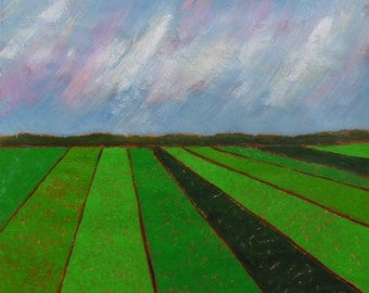 spring painting, spring farm fields, green, green, green art, FREE shipping in US