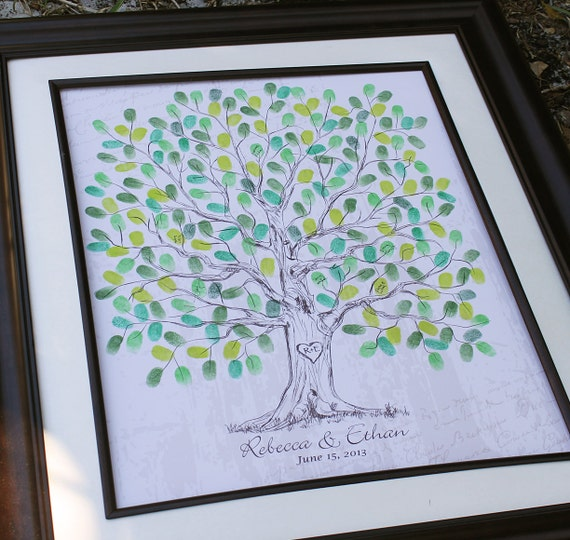 Personalized Thumbprint Tree Wedding Guest Book Alternative: Wedding Tree Custom Guest Book Gift Hand Drawn Wedding