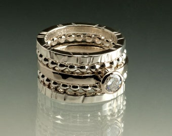 Moissanite Wedding 14kt White Gold Stacking Rings, available in Yellow gold, different stone sizes available