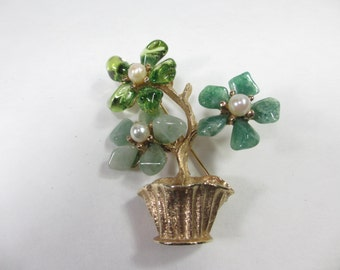 Swaboda Semi Precious Stones Potted Flower Brooch