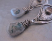 Paisley Solar Quartz and Moonstone Sterling Silver Earrings