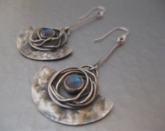 Half Moon Earrings.  Sterling Silver and Moonstone