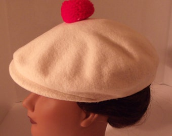 Vintage Beret Style Hat With Bib Wool Cream Colored  Red Pom Pom Deluxe Imported French Body