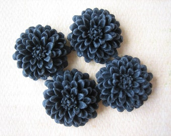 4PCS - Black - Resin - Mum Flower Cabochons - 20mm