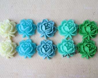 10PCS - Rose Flower Cabochons - Resin - 5 Mixed Colors - 17x18mm - Blues, Green and Vanilla