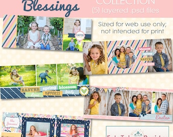 INSTANT DOWNLOAD Easter Blessings Timeline Cover Collection - 5 Custom templates for FB Timeline Covers