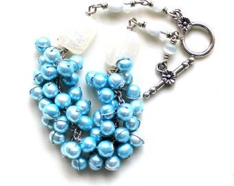 bubble gum dreams / beaded pearl bracelet / wire wrapped jewelry blue and milky white cracked agate cats eye glass / valentine gift