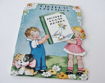 Vintage Mother Goose Rhymes Birthday Greetings, 1940s Vintage Storybook Birthday Card, Cute Little Girl and Boy with Dog