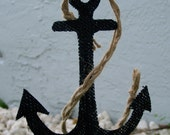 Anchor Cake Topper -Nautical theme burlap cake topper ( 1 piece per order)