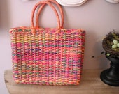 vintage COLORFUL Woven STRAW handbag  ... Market TOTE Funky Cool