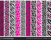 Digital Paper Pack - Pink and Grey Animal Prints - 10 digital papers